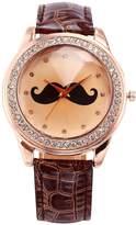AMPM24 Women's WAA512 Rose Gold Tone Crystal Mustache Ladies Coffee Leather Quartz Wrist Watch