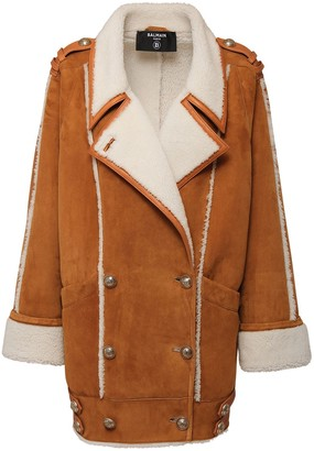 Balmain Oversize Shearling Short Coat