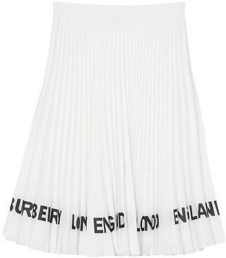 Burberry Rersby Pleated Knee Length Skirt W/Logo