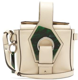 Ganni Grained-leather Box Bag - Womens - White Multi