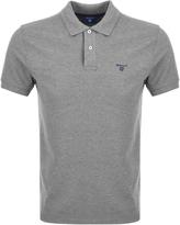 Gant Contrast Collar Rugger Polo T Shirt Grey