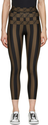 Fendi Brown and Black Striped Forever Leggings