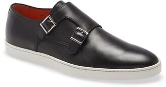 Santoni Freemont Leather Slip-On Monk Shoe