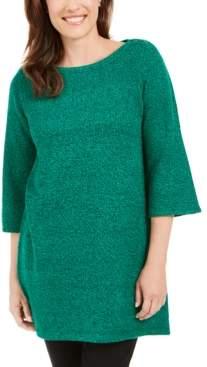 Karen Scott Marled Boat-Neck Sweater
