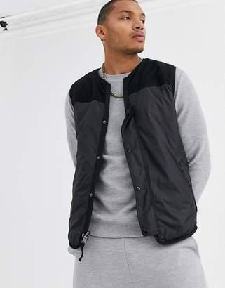 Asos Design DESIGN gilet reversible nylon fleece-Black