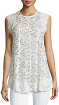 Romeo & Juliet Couture Crochet-Lace Overlay Top, Cream