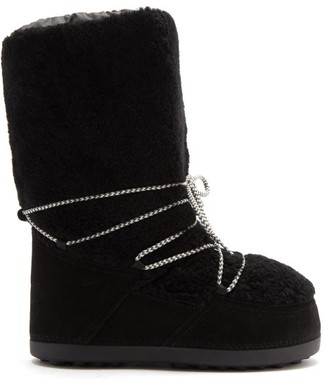 Bogner Cervinia Shearling And Suede Snow Boots - Black