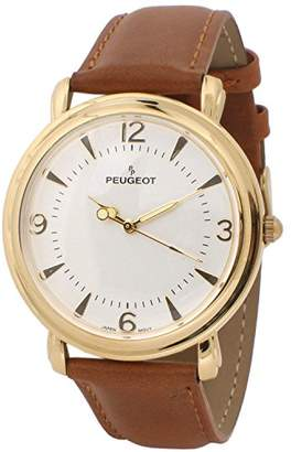 Peugeot Men's Slim Case Metal Dress Watch with Leather Wrist Strap