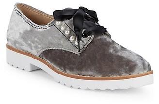 Karl Lagerfeld Paris Velvet Pearl Studded Loafers