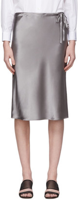 6397 Grey Silk Drawstring Skirt