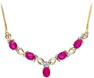 Camilla And Marc Naava Women's Prong Set Herringbone Chain of 46 cm Length, 0.04 ct Diamond Weight, Diamond and Ruby 9 ct Yellow Gold Necklace