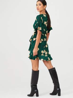 AX Paris Leopard and Floral Wrap Dress - Green