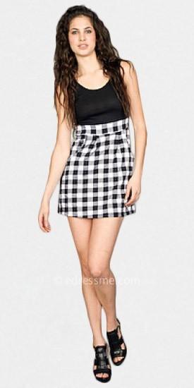 eDressMe Black and White Plaid Dresses>Casual