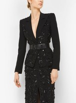 Michael Kors Floral-Embroidered Stretch Pebble-Crepe Dinner Jacket