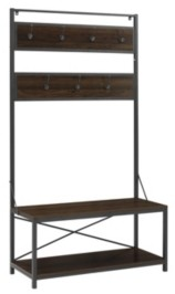 "Walker Edison 72"" Industrial Metal and Wood Hall Tree - Dark Walnut"