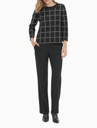 Calvin Klein Windowpane 3/4 Sleeve Crewneck Sweater