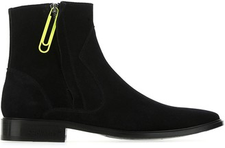 Off-White Paper Clip Zipped Ankle Boots
