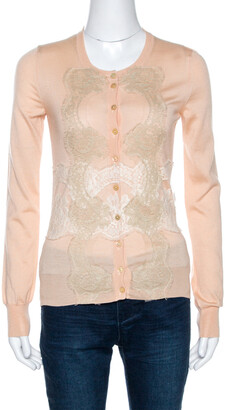 Dolce & Gabbana Light Peach Cashmere Lace Trim Cardigan S