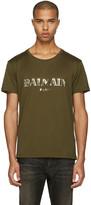 Balmain Green Mylar Logo T-Shirt