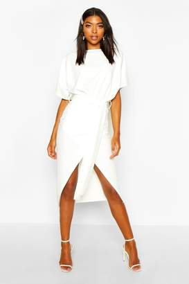 boohoo Tall Angel Sleeve Belted Wrap Midi Dress