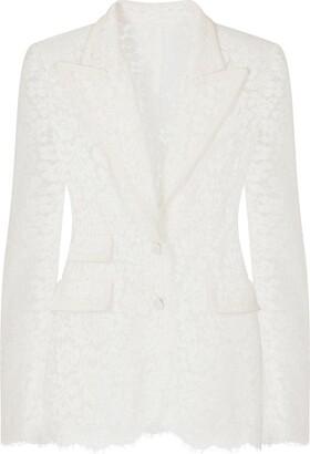 Dolce & Gabbana Semi-Sheer Floral-Lace Blazer
