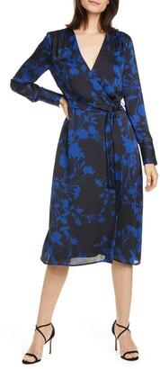 Equipment Cherylene Floral Long Sleeve Wrap Dress