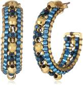 Miguel Ases Small Gold and Aqua Hoop Earrings