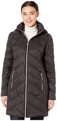 MICHAEL Michael Kors 3/4 Packable Jacket with Chevron Quilt M824168TZ (Black) Women's Coat