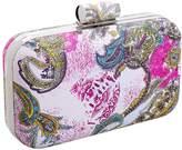 BMC Floral Hard Case Detachable Chain Party Fashion Clutch Handbag