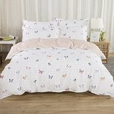Abreeze Butterfly Print Bedding Sets for Girls, Shabby Plaid Cotton Duvet Cover Set 4 Pieces Twin Size