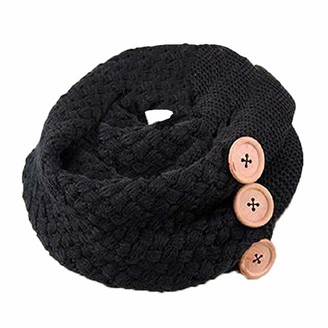 Uhat Women's Knitted Loop Scarf Button Scarves Winter Thick Warm Neckerchief Snoods (Black)