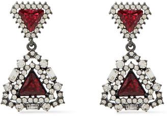 Kenneth Jay Lane Oxidized Silver-tone Crystal Earrings