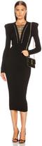 Balmain Lace Up V Neck Midi Dress in Black | FWRD