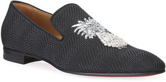 Christian Louboutin Men's Dandanas Pineapple Red Sole Loafers