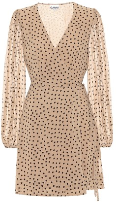 Ganni Polka-dot wrap minidress