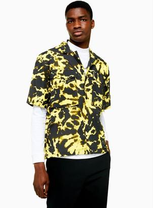 Topman JADED Neon Tie Dye Seersucker Revere Shirt*
