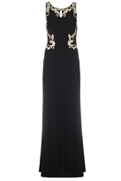 Quiz Black And Gold Lace Back Embroidered Maxi Dress