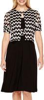 Perceptions Short-Sleeve Chevron Print Jacket Dress - Petite