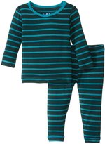 Kickee Pants Print Pajama Set (Baby) - Tundra Stripe - 0-3 Months