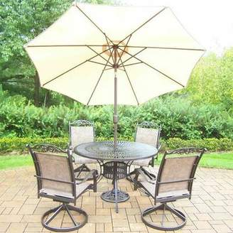 Basile August Grove 5 Piece Dining Set August Grove Color: Coffee, Umbrella Color: Beige