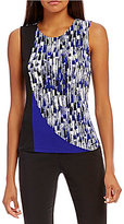 Calvin Klein Petites Pieced Colorblock And Print Shell