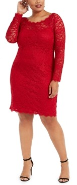 Jump Trendy Plus Size Lace Sheath Dress