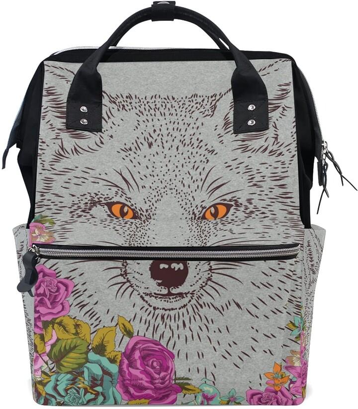 Ldiyeu Flower Wolf Art Diaper Bag Backpack Mom Bag Casual Lightweight Large Capacity for Travel Mammy Women Girls