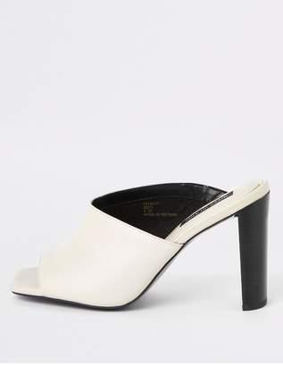 River Island Leather Asymmetric Mule Sandal - White