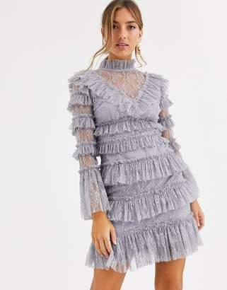 By Malina layered lace mini dress in grey