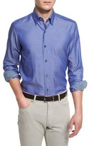 Ermenegildo Zegna Polished Solid Long-Sleeve Sport Shirt, Blue