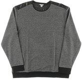 Calvin Klein Men's Crew Neck Sweatshirt with Faux Leather Overlay