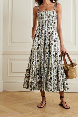 TORY BURCH - Shirred Tiered Floral-print Cotton-blend Poplin Midi Dress - Green