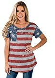 Women's Tops, Neartime American Flag Sexy Blouse Short Sleeve Tee Print T-Shirt (XL, Multicolor)