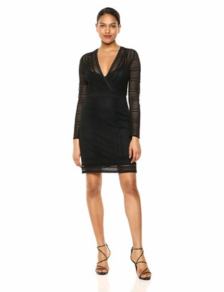 BCBGMAXAZRIA Azria Women's Mixed Lace Faux Wrap Dress